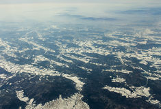 Mountains seen from airplane Stock Photo