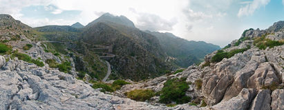 Mountains and serpentines on Majorca, Spain Royalty Free Stock Image