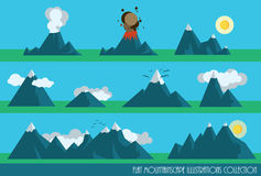 Mountains set. Collection of flat mountains illustrations with sun, clouds and a volcano Stock Photography