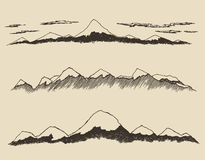 Mountains set contours Engraving Vector Hand Draw Royalty Free Stock Images