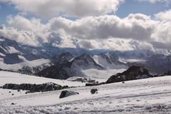 The mountains and shelters near the Mount Elbrus, Russia Stock Images
