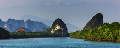 Mountains on the shores of the bay in Krabi Stock Photo