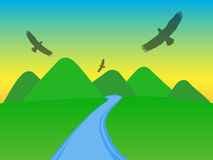 Mountains with silhouettes of eagles. On the sky Royalty Free Stock Photo