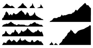 Mountains silhouettes. Set of mountain silhouettes, vector illustration Royalty Free Stock Photography