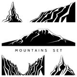 Mountains silhouettes set Stock Photos