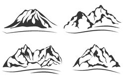 Mountains silhouettes. Set of vector icons. Royalty Free Stock Image