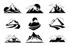 Mountains silhouettes vector illustration. Mountain set for outdoor leisure hiking travel. Mountaon travel adventure Stock Images