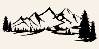 Mountains silhouettes. Mountains vector, Mountains vector of outdoor design elements, Mountain scenery, trees, pine vector,. Mountain scenery vector illustration