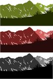 Mountains silouettes collection. 3 different vectors of a mountain chain Royalty Free Stock Photo