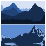Mountains siluettes. 2 different vectors of a mountain chain Royalty Free Stock Images
