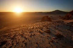 Mountains in the Sinai desert at sunset. Valley in the Sinai desert with mountain rock at sunset Stock Image