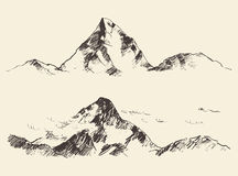 Mountains sketch contours engraving drawn vector Royalty Free Stock Photography