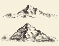 Mountains sketch contours engraving drawn vector Royalty Free Stock Photos