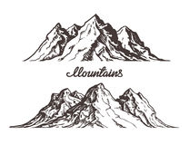Mountains sketch. Hand drawn vector illustration Royalty Free Stock Photography