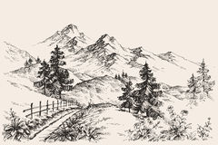 Mountains sketch Stock Images