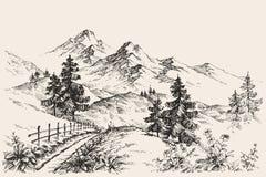 Mountains sketch vector illustration