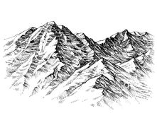 Mountains sketch Royalty Free Stock Image