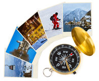 Mountains ski Austria images and compass Royalty Free Stock Images