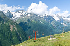 Mountains and ski chairlifts Royalty Free Stock Images