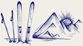 Mountains and ski equipments. Doodle style Royalty Free Stock Images