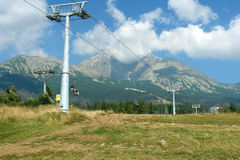 Mountains and ski-lift in High Tatras. Stock Photography