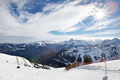 Mountains ski resort - Alps Austria Royalty Free Stock Image