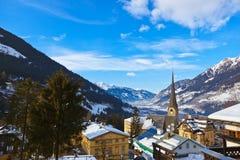Mountains ski resort Bad Gastein Austria. Architecture and nature background Royalty Free Stock Image