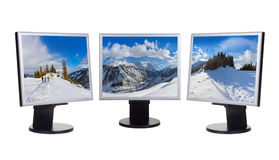 Mountains ski resort Kaprun Austria panorama in computer screens Stock Images