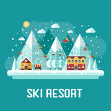 Mountains Ski Resort Landscape Royalty Free Stock Image