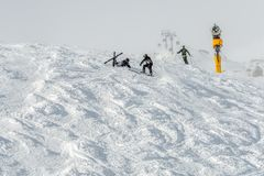 Accident in Mountains ski resort Solden Austria stock photos