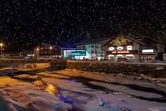 Mountains ski resort Solden Austria at night Royalty Free Stock Photo