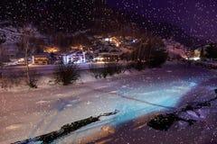 Mountains ski resort Solden Austria at night Royalty Free Stock Images