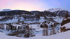 Mountains ski resort Solden Austria at sunset Stock Images