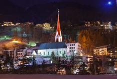 Mountains ski resort Solden Austria at sunset Royalty Free Stock Photo