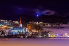 Mountains ski resort Solden Austria - sunset Stock Images