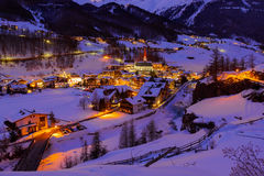 Mountains ski resort Solden Austria - sunset Royalty Free Stock Photo