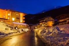 Mountains ski resort Solden Austria at sunset Royalty Free Stock Photography