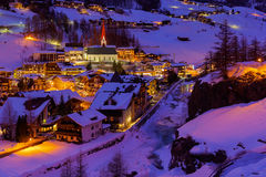 Mountains ski resort Solden Austria - sunset Royalty Free Stock Photos