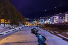 Mountains ski resort Solden Austria at sunset Stock Photography
