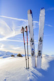 Mountains and ski touring equipments. Royalty Free Stock Image