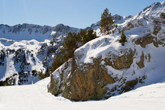 Mountains for skiing. Rocky mountains with scenic view for skiing in Andorra Stock Image