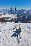 Mountains skis and ski-sticks - St. Gilgen Austria Stock Photos