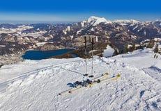 Mountains skis and ski-sticks - St. Gilgen Austria Stock Images