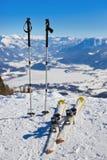 Mountains skis and ski-sticks - St. Gilgen Austria Stock Image