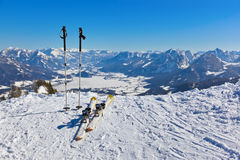 Mountains skis and ski-sticks - St. Gilgen Austria Royalty Free Stock Photo