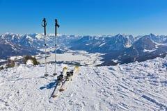 Mountains skis and ski-sticks - St. Gilgen Austria Royalty Free Stock Photo
