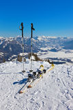 Mountains skis and ski-sticks - St. Gilgen Austria Stock Images