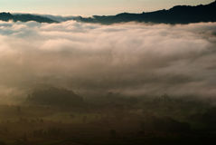 Mountains sky fog and sunrise Royalty Free Stock Photos