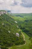 Mountains, sky and green fields in the Crimea Royalty Free Stock Photo