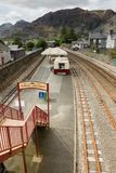 Blaenau Ffestiniog Wales. Mountains and slate mining spoil tips towering above the Welsh town of Blaenau Ffestiniog viewed from the railway station on Rawson royalty free stock photo